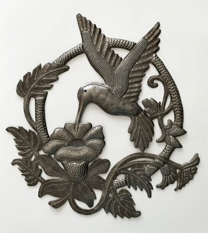 .Wall Art - Metal - Hummingbird with Flower