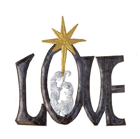 .Wall Art - Metal - LOVE Nativity with painted Golden Star