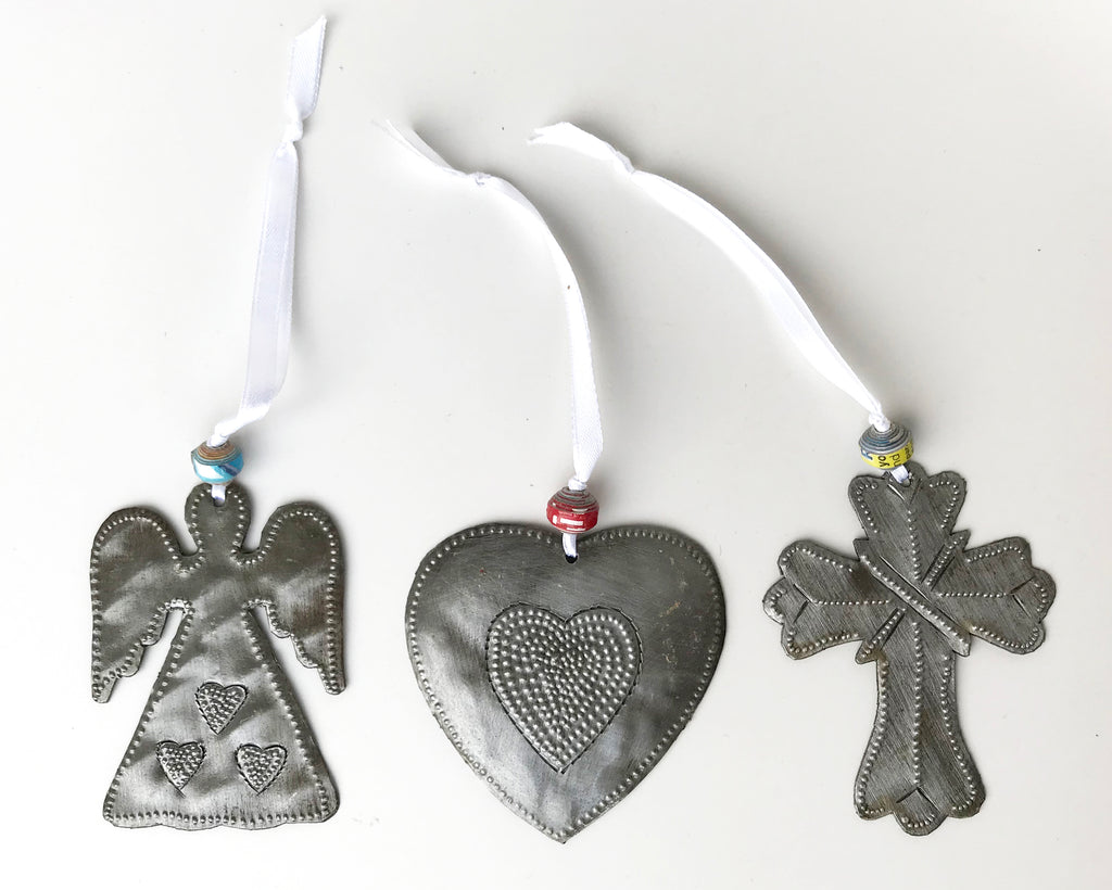 Ornament Set - Metal - HeartAngel-Heart-Cross - Set #2