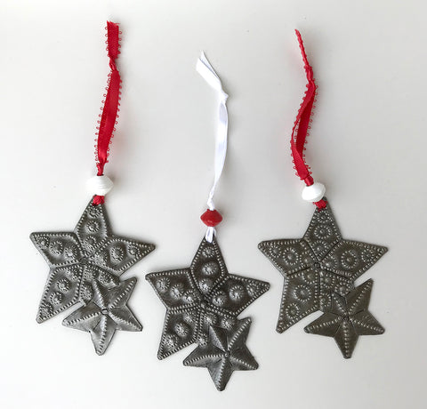 Ornament Set - Metal - Double Stars - Set of 3