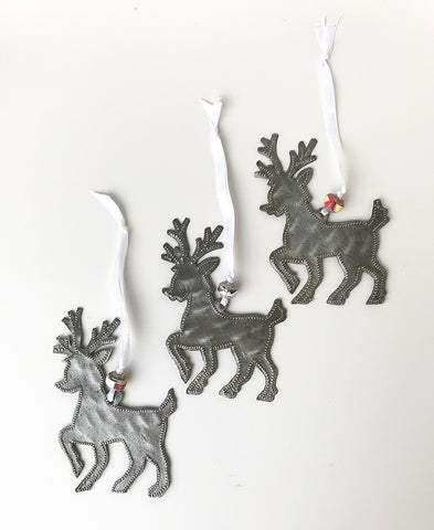 Ornament - Metal - Reindeer Set of 3