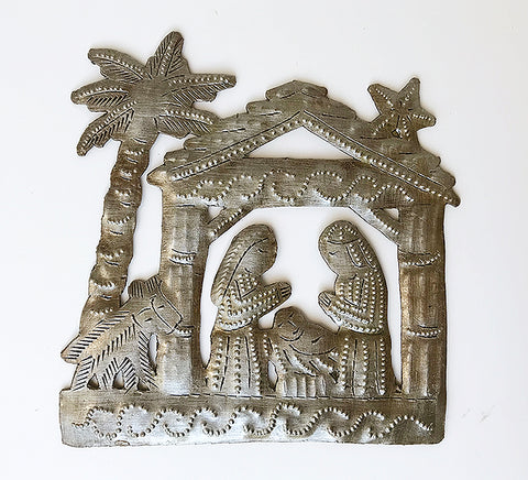 Nativity -  Metal - Small with Palm Tree