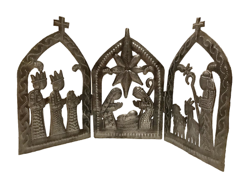 Nativity - Metal - Tri-Fold with Crosses - Adjustable