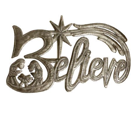 Wall Art - Metal - Believe Nativity