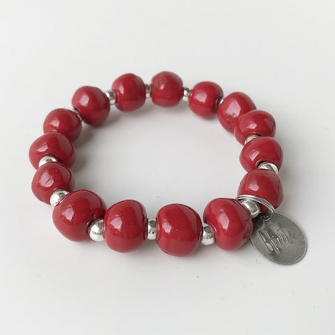 Bracelet  - Ceramic - with Haiti Charm - Red or Green
