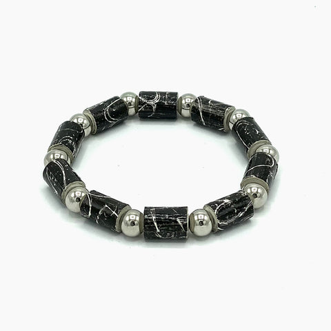Bracelet - .Paper - .Barrel Bead with Silver-tone accents  -  Red, Black & White Selections