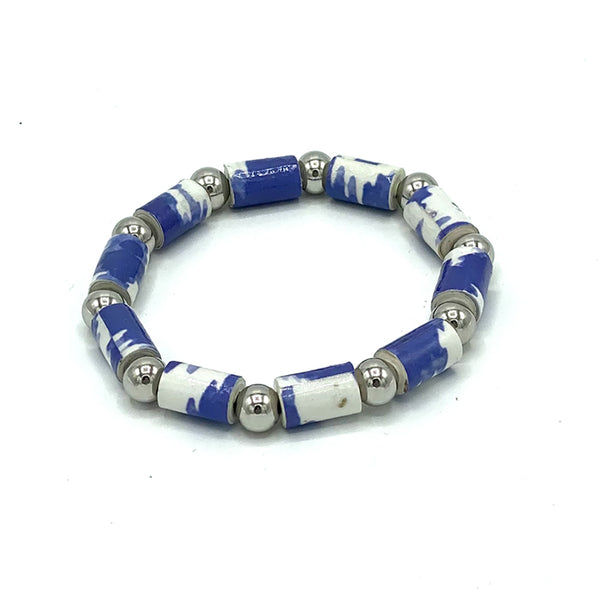 Bracelet - .Paper - Barrel Bead with Silver-tone accents  -  Blue selections