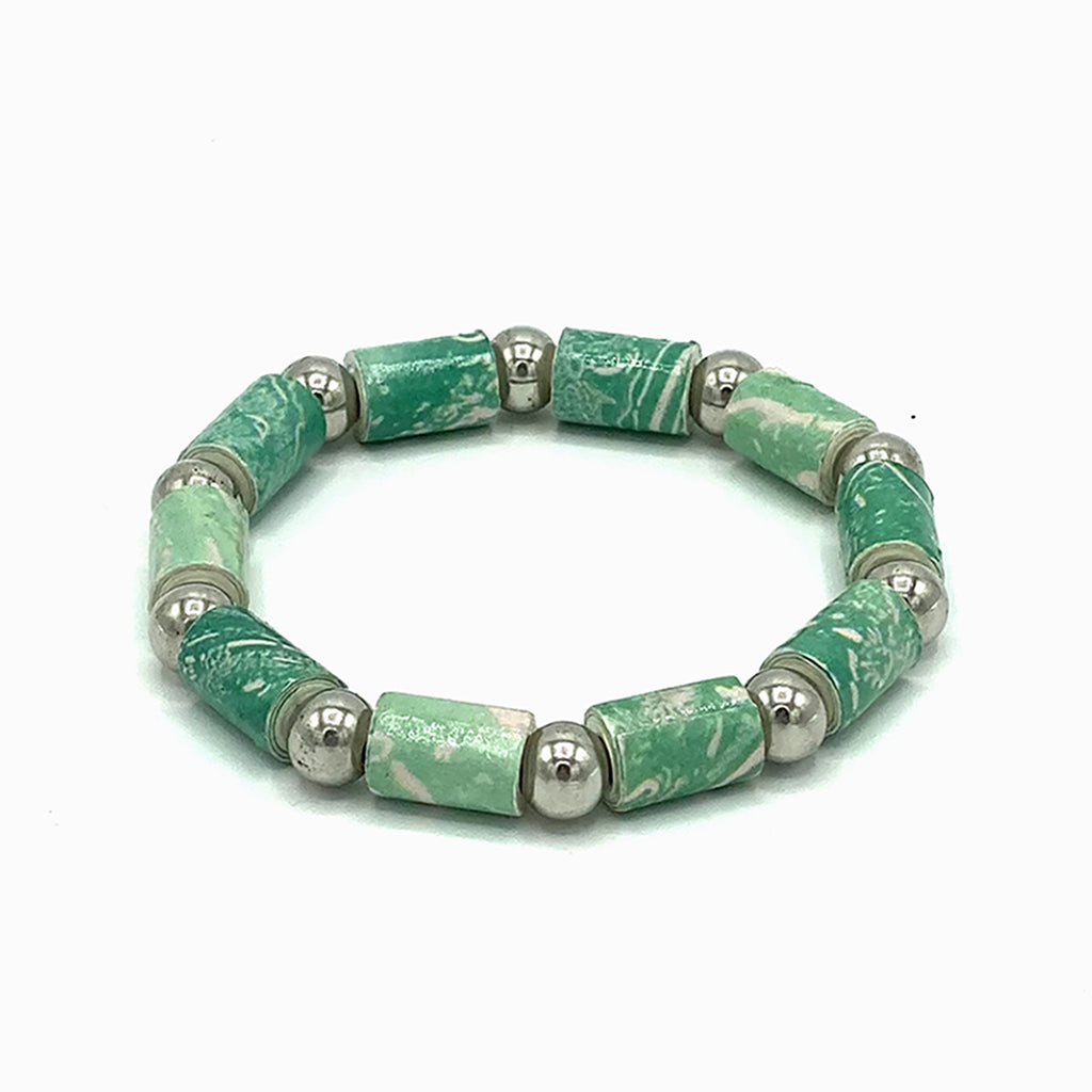 Bracelet - .Paper - Barrel Bead with Silver-tone accents  -  Green selections