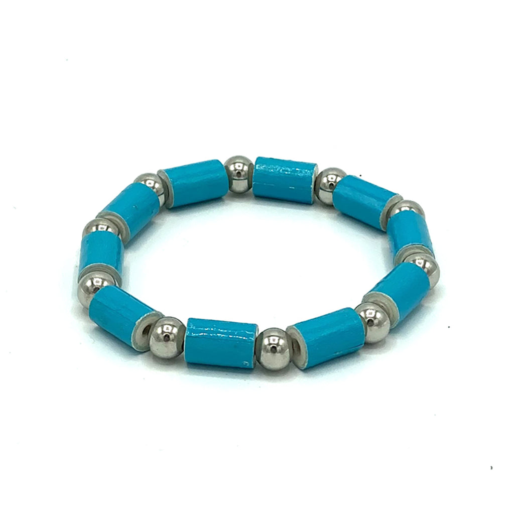 Bracelet - .Paper - Barrel Bead with Silver-tone accents  -  Aqua & Teal selections