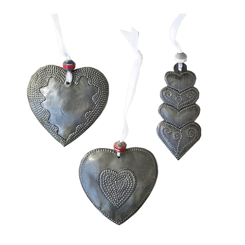 Ornament Set - Metal - Variety of Hearts