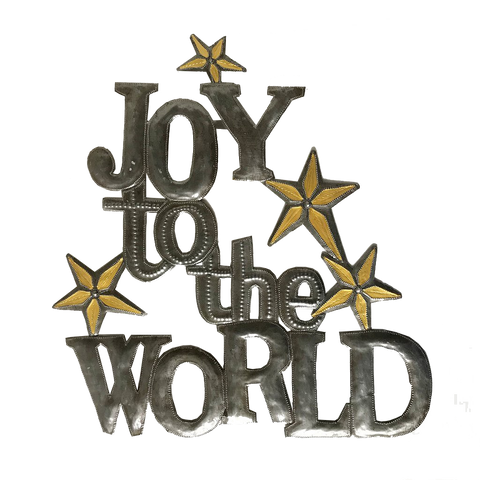 Wall Art - Metal - *Joy to the World - With Golden Painted Stars
