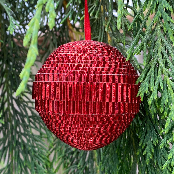 Ornament - Corrugated Paper - Shiny - Ball - RED (Single or Set of 3)