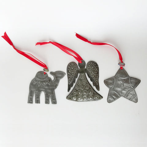 Ornament Set - Metal - Camel-Angel-Star