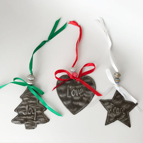 Ornament Set - Metal - JoyTree-LoveHeart-PeaceStar