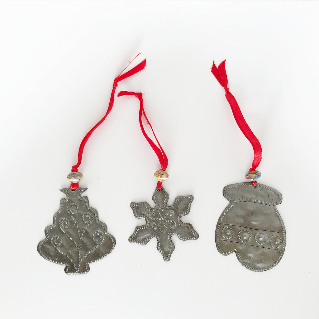 Ornament Set - Metal - Tree-Snowflake-Mitten