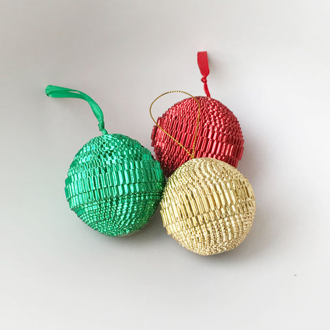 Ornament Set - Paper -Sampler - Shiny Round- Set of 3 - Red-Gold-Green