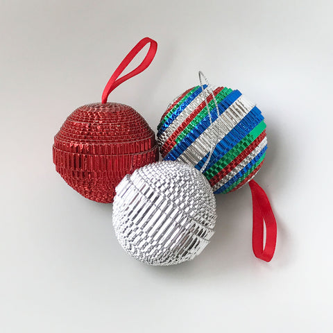 Ornament Set - .Paper -Sampler - Shiny - Set of 3 - Red-Silver & MULTICOLORED