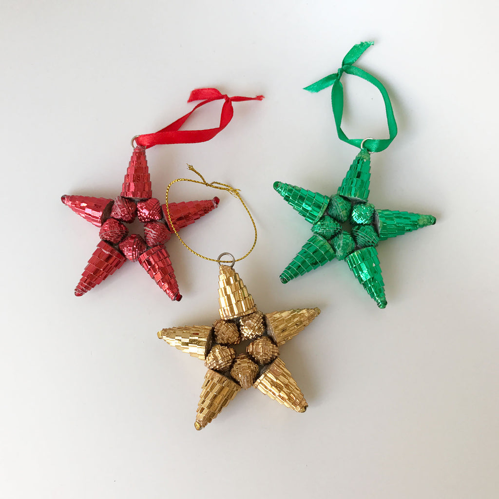 Ornament Set - Paper -Sampler - Shiny Stars - Set of 3 - Red-Gold-Green