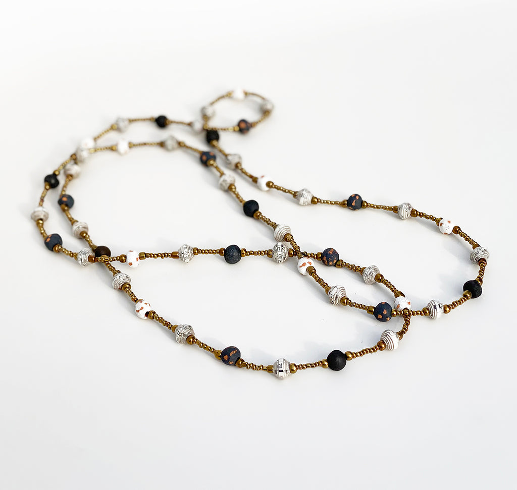.Necklace - Signature Clay - Mini Beads - LONG - Black & White