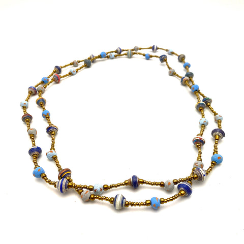 .Necklace - Signature Clay - Mini Beads - LONG - BLUE