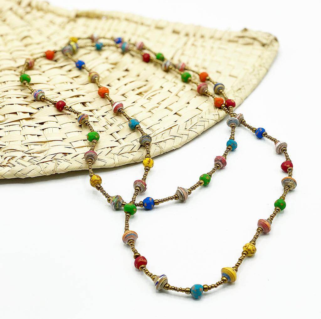 .Necklace - Signature Clay - Mini Beads - LONG -  Multicolor