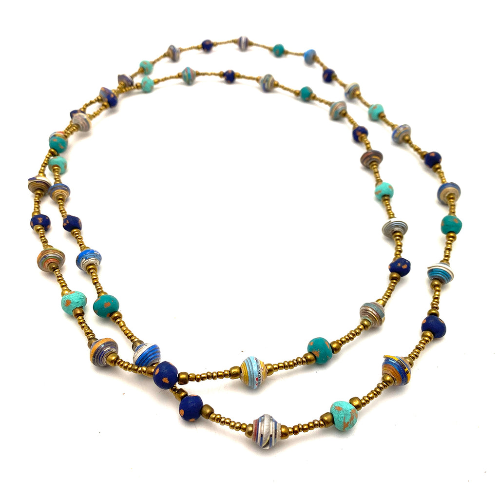Necklace - Signature Clay - Mini Beads - LONG - TEAL with Blue