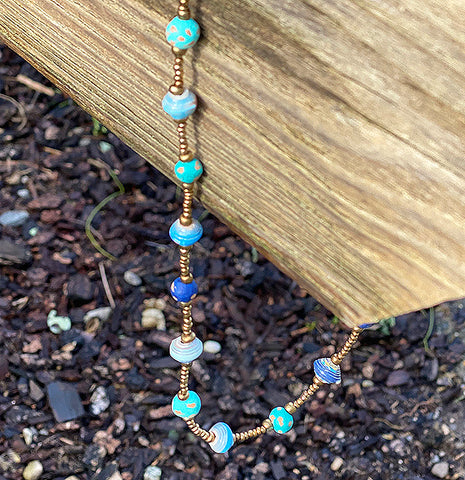 .Necklace - Signature Clay - Mini Beads - Short - TEAL with Blue