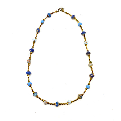 .Necklace - Signature Clay - Mini Beads - Short - BLUE