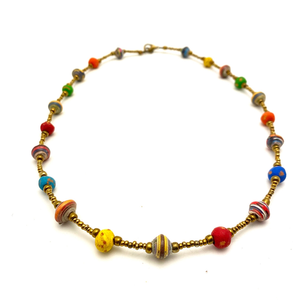 .Necklace - Signature Clay - Mini Beads - Short - Multicolor