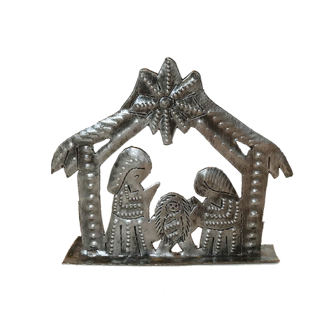 Nativity -  Metal - Small Standing - House Shaped