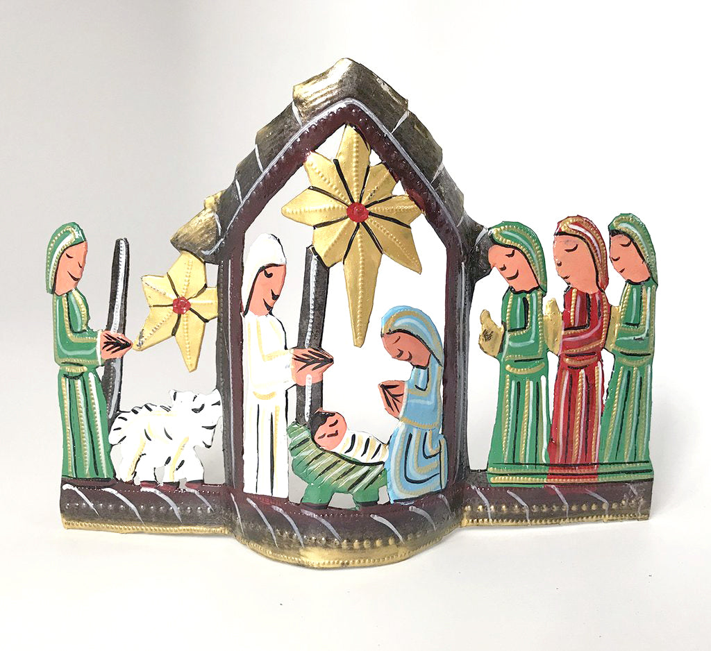 Nativity -  Metal - .Standing Nativity - Painted