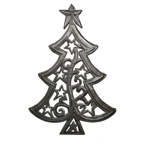 Wall Art - Metal - Star-Filled Christmas Tree
