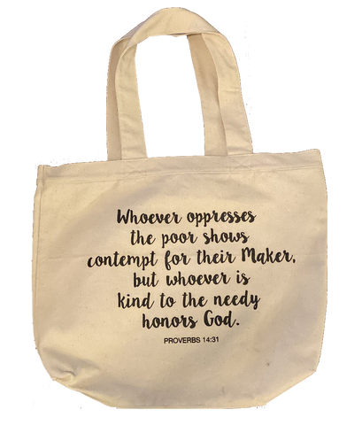 Tote Bag - Screen Printed - Whoever is kind honors God - Prov 14:31