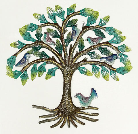 .Wall Art - Metal - Spring Tree with Birds - PAINTED