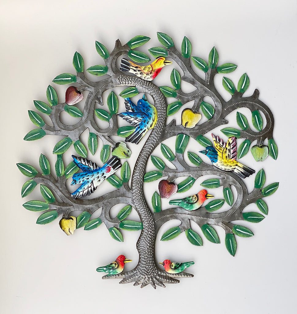 .Wall Art - Metal - Tree with MANY COLORFUL Birds
