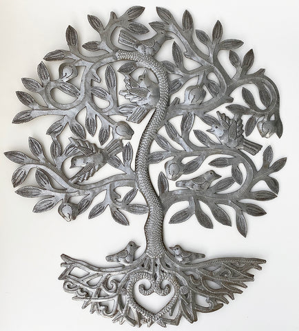 .Wall Art - Metal - Tree with Birds & HEART Roots