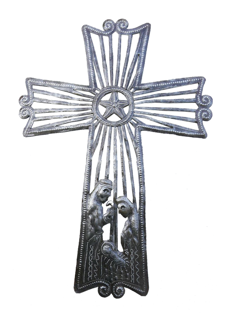 Wall Art - Metal - Cross with Nativity - Extra Large