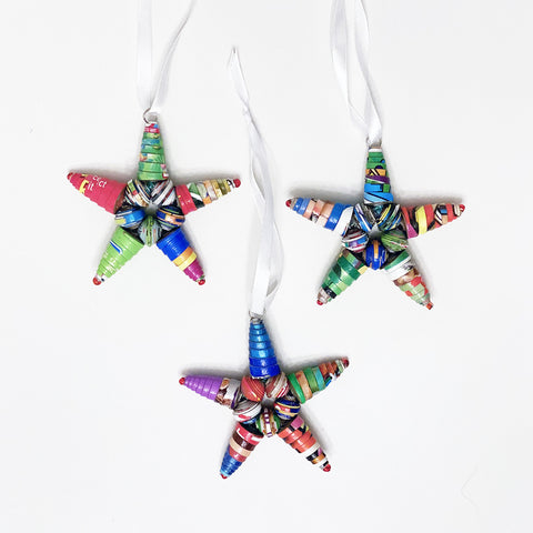 Ornament Set - Cereal Box Bead Stars - Set of 3