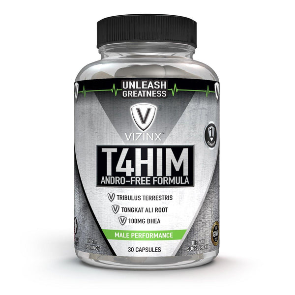 T4HIM - Male Testosterone Booster with 100 MG DHEA, Tribulus, Tongkat Ali and Complete Prostate Complex, 30 Capsules