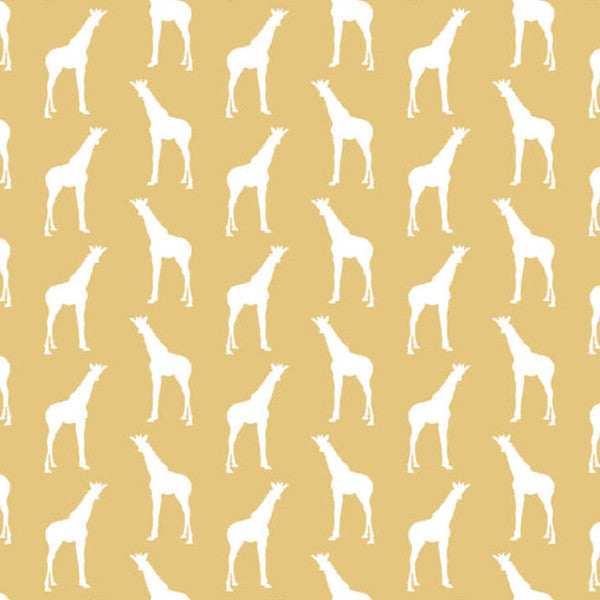 "Cotton by the metre - GIRAFFES (mustard)""STOCK CLEARANCE"""