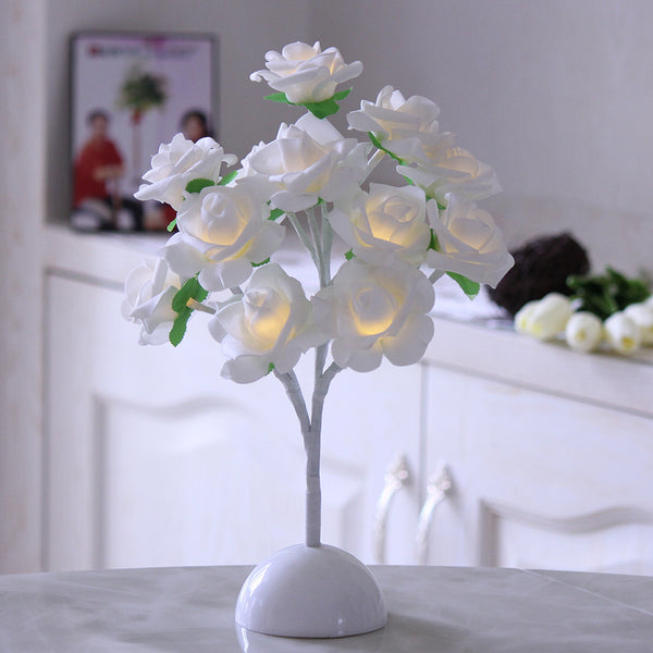 Artificial LED White Rose flower with round base