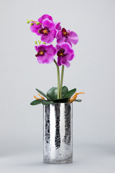 Purple Orchid LED Flower in Mosaic Mirror Vase - O-002P