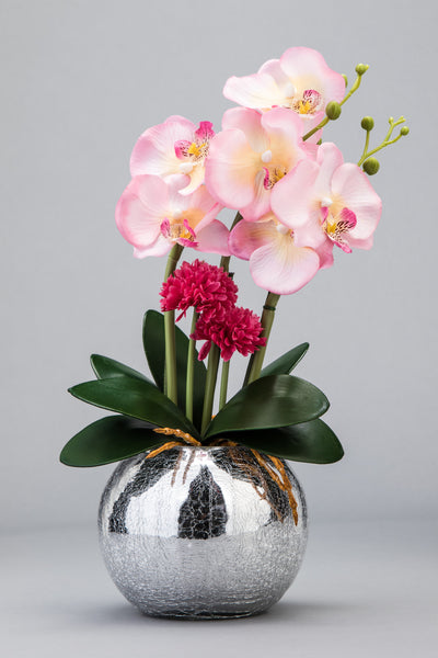 Pink Orchid LED Flower in Round Mosaic Mirror Vase - O-013PK