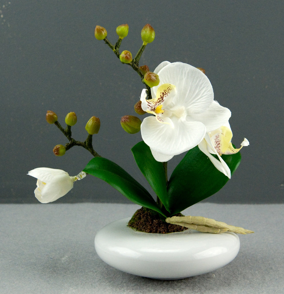 Bright Baum Artificial Small Oval Led White Orchid Flower Bright