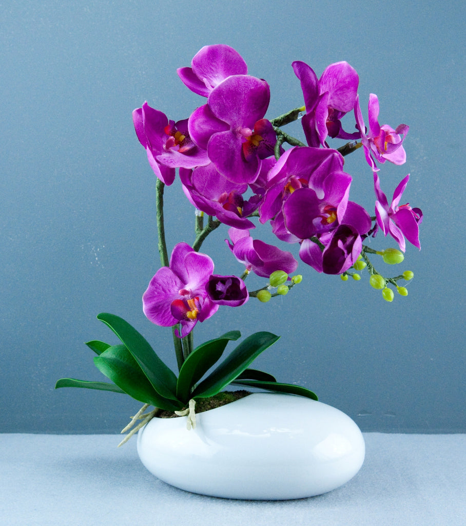 Bright Baum Artificial Large Oval Led Purple Orchid Flower