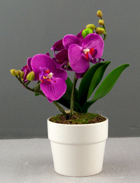 Pretty Valley Home - Artificial LED Purple Orchid flower with round vase
