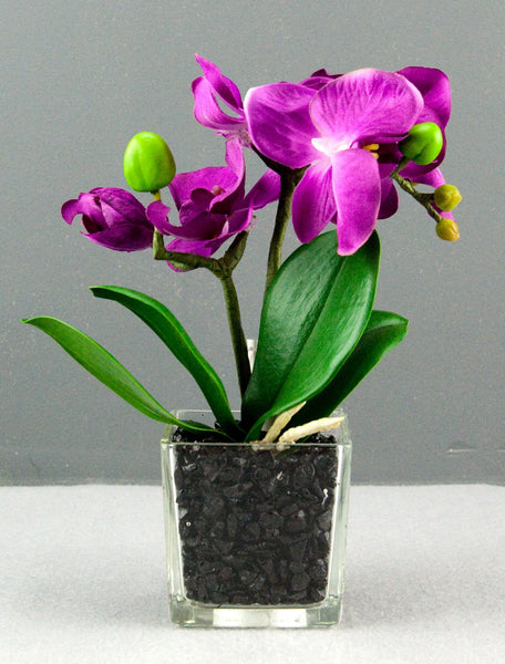 Pretty Valley Home - Artificial LED Purplwith Orchid flower with black stones