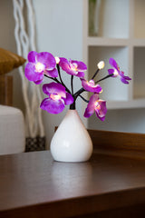 Pretty Valley Home - Artificial LED Orchid flower with pear shape vase