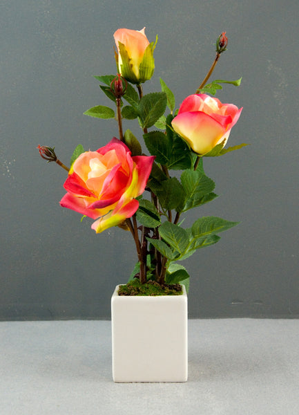 Pretty Valley Home - Artificial LED Peach Rose flower with vase