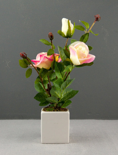 Pretty Valley Home - Artificial LED Dusty Pink Rose flower with vase